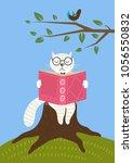 cute white cat reading book...   Shutterstock .eps vector #1056550832