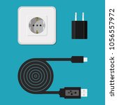 icon. vector. charger  cable ... | Shutterstock .eps vector #1056557972