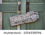 democrat house sign on old...   Shutterstock . vector #1056558596