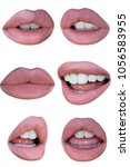 mouth with nude pink brown lips ... | Shutterstock . vector #1056583955