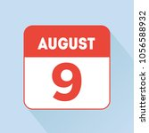 august 9 calendar icon red flat.... | Shutterstock .eps vector #1056588932