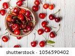 Small photo of Cherries. Cherry. Cherries in color bowl and kitchen napkin. Red cherry. Fresh cherries.