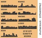 set of 9 city silhouette in... | Shutterstock .eps vector #1056600962