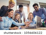 group of young business people ... | Shutterstock . vector #1056606122