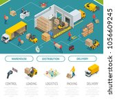 isometric warehousing and... | Shutterstock .eps vector #1056609245
