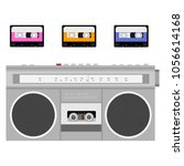 retro outdated portable stereo... | Shutterstock .eps vector #1056614168