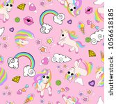 pattern with unicorns  rainbow  ... | Shutterstock .eps vector #1056618185
