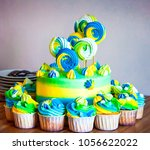 bright colorful cake with... | Shutterstock . vector #1056622022