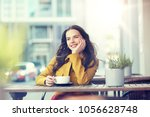 drinks and people concept  ... | Shutterstock . vector #1056628748