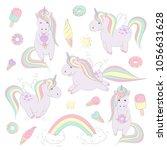 set of cute cartoon unicorns in ... | Shutterstock .eps vector #1056631628