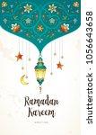 vector ramadan kareem cards.... | Shutterstock .eps vector #1056643658