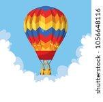 flat hot air balloon | Shutterstock .eps vector #1056648116