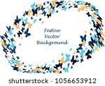 festive butterfly confetti... | Shutterstock .eps vector #1056653912