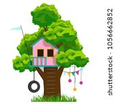 tree house  isolated vector... | Shutterstock .eps vector #1056662852