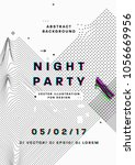 night party poster. 80s disco... | Shutterstock .eps vector #1056669956