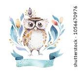 Stock photo cute bohemian baby owl animals for kindergarten woodland nursery isolated decoration forest owls 1056670976