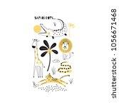 decorative safari poster | Shutterstock .eps vector #1056671468