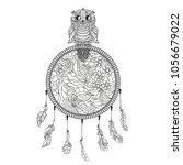 dreamcatcher. tattoo art ... | Shutterstock .eps vector #1056679022