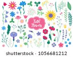 set of field flowers   tulip ... | Shutterstock .eps vector #1056681212