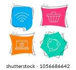 set of online shopping  wifi... | Shutterstock .eps vector #1056686642