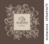 background with almond  almond... | Shutterstock .eps vector #1056692675