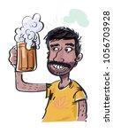 jolly indian guy drinking beer. ... | Shutterstock .eps vector #1056703928