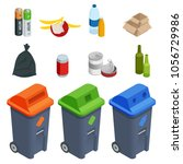 isometric set of waste sorting... | Shutterstock .eps vector #1056729986