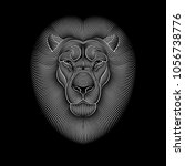 engraving of stylized lion on... | Shutterstock .eps vector #1056738776