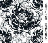 vector black and white flower... | Shutterstock .eps vector #1056748886
