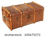 The old chest, used to transport clothes on long journeys - stock photo