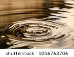 Small photo of Circles on the water closeup with falling round drops, reflection warm colors