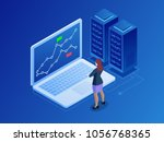 isometric businesswomen trading ... | Shutterstock .eps vector #1056768365