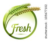 badge or tag with fresh wheat | Shutterstock .eps vector #105677102