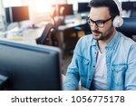 modern young ambitious... | Shutterstock . vector #1056775178