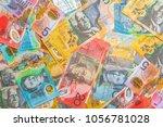 australian banknotes background ... | Shutterstock . vector #1056781028