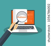 document with malware in laptop.... | Shutterstock .eps vector #1056786002