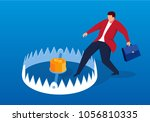 businessman carefully enters... | Shutterstock .eps vector #1056810335