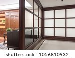 hallway and glass partition in...   Shutterstock . vector #1056810932