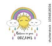 sun and rainbow cute vector...   Shutterstock .eps vector #1056818036