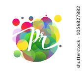 letter pr logo with colorful... | Shutterstock .eps vector #1056827882