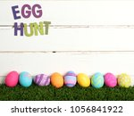 easter egg hunt invite with... | Shutterstock . vector #1056841922