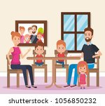 cute family happy in the dining ... | Shutterstock .eps vector #1056850232