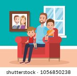 best father in the living room... | Shutterstock .eps vector #1056850238