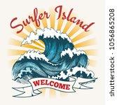 surf wave poster. surfer island ... | Shutterstock .eps vector #1056865208