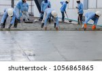 casting concrete slab work by... | Shutterstock . vector #1056865865