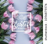 happy easter card text. pink... | Shutterstock . vector #1056875576