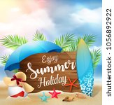 enjoy summer holidays banner... | Shutterstock .eps vector #1056892922