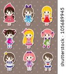girl stickers | Shutterstock .eps vector #105689945