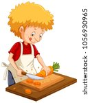 man chopping carrot on cutting... | Shutterstock .eps vector #1056930965
