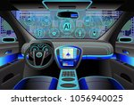 car modern interior  cockpit... | Shutterstock .eps vector #1056940025